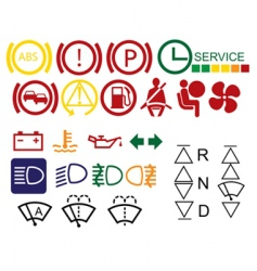 Car dashboard signs vector
