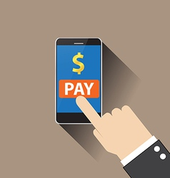 Hand of businessman touching mobile payment vector