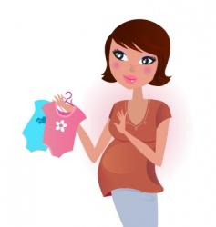 Woman awaiting baby boy vector