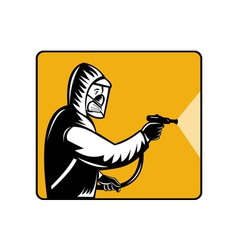 Pest control exterminator spraying pesticide vector