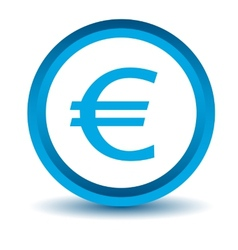 Blue euro icon vector