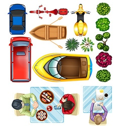 Topview of vehicles plants and people at the table vector