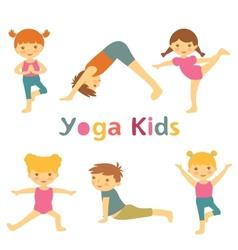 Cute yoga kids vector
