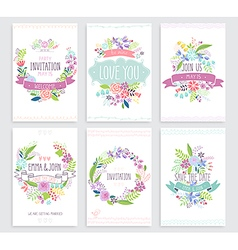Romantic floral hand drawn card set vector