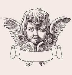 Angel head and banner engrave vector