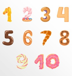 Numbers like sweets and buns vector