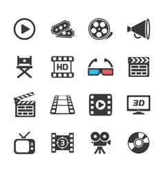 Cinema and movie icons white vector