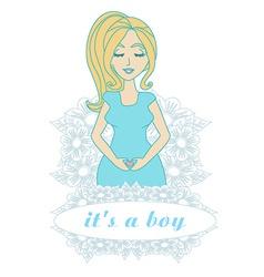 Its a boy - pregnant woman card vector