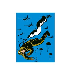 World war two soldier parachuting pulling cord vector