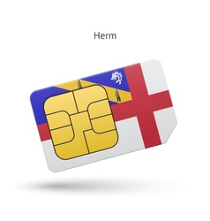 Herm mobile phone sim card with flag vector