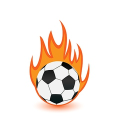 Football balls in orange fire flames vector