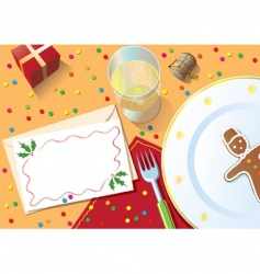 Christmas dinner table vector