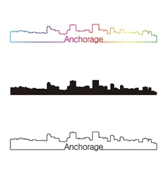 Anchorage skyline linear style with rainbow vector
