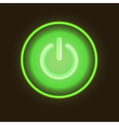 Green neon button vector