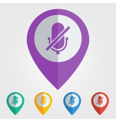 Flat pin with microphone off icon vector