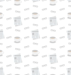 Seamless pattern with newspapers coffee and vector