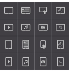 Black tablet icons set vector