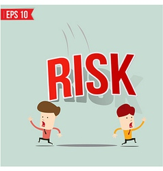 Businessman run away from risk burden vector