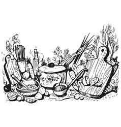 Sketch of cookery vector