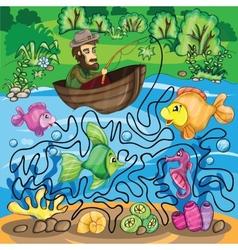 Fisherman maze game vector