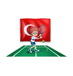 A boy playing tennis in front of the flag of vector