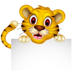 Cute baby tiger with blank sign vector
