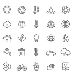 Set of outline stroke ecology icons vector