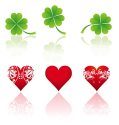 Three hearts and three shamrocks vector