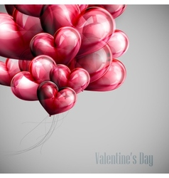 Bunch of red balloon hearts vector