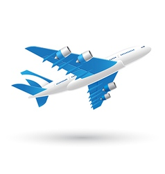 Blue and white airplane business icon vector