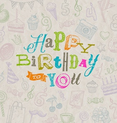 Hand drawn happy birthday greeting card vector