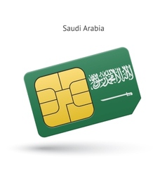 Saudi arabia mobile phone sim card with flag vector