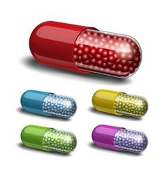 Set of medical capsule with granules vector