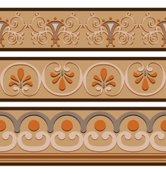 Set of ancient roman ornaments border patterns vector
