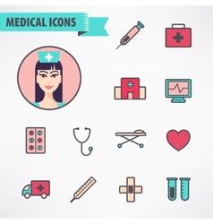 Set of line medical vector