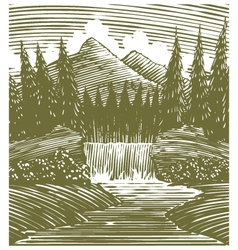 Woodcut waterfall wilderness vector