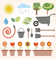 Set of flat gardening icons vector