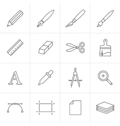 Drawing and painting tools icons vector