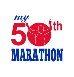 50th marathon run race runner vector