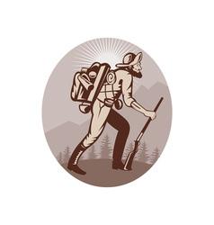 Miner prospector hunter trapper hiking vector