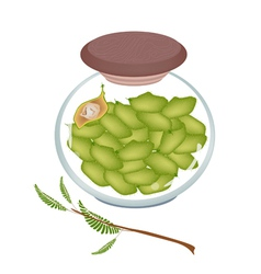 A glass jar of chick pea on white background vector