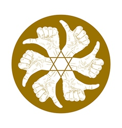 Six thumb up hand signs in round abstract symbol vector