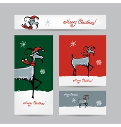 Funny goat santa christmas cards 2015 design vector