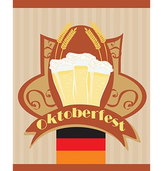 Oktoberfest card with beer vector