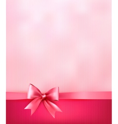 Elegant holiday background with gift pink bow and vector