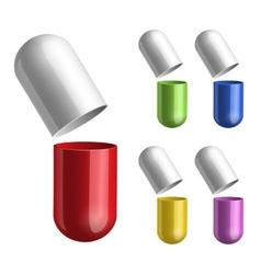 Set of pills opened in two halfs vector