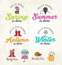 Cute seasons and badges set vector