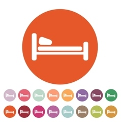 The bed icon hotel symbol flat vector