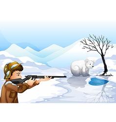 A boy shooting the bear vector