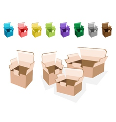 Colorful set of open cardboard boxes vector